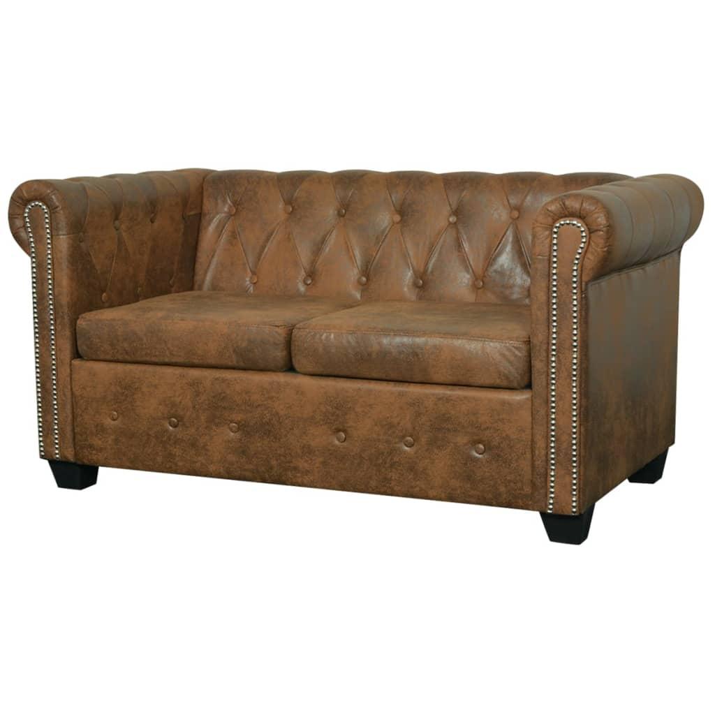 der vidaxl chesterfield sofa 2-sitzer kunstleder braun online shop, Hause deko