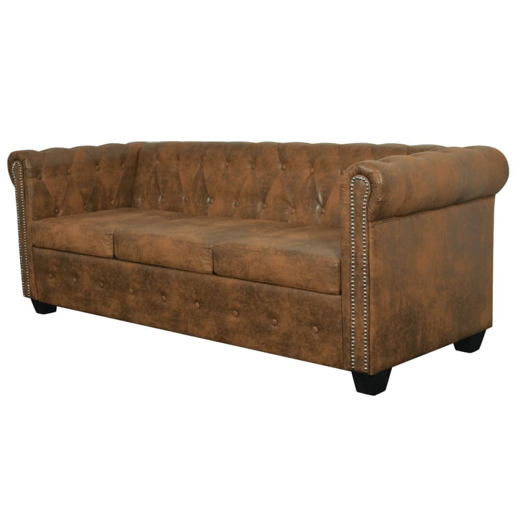 vidaxl chesterfield sofa 3 sitzer kunstleder braun g nstig. Black Bedroom Furniture Sets. Home Design Ideas