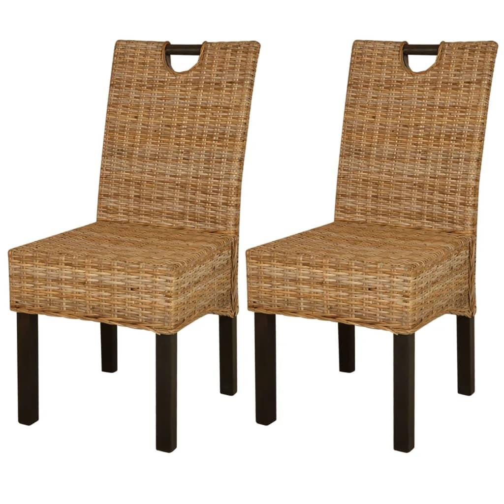 vidaXL Krzesła do jadalni rattanowe, drewno mangowe, 2 sztuki