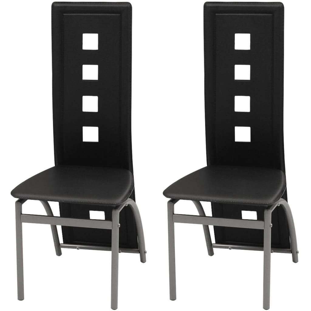 Vidaxl sillas de comedor 2 unidades cuero artificial negro for Sillas de cuero para comedor