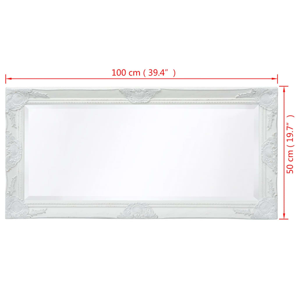 Vidaxl espejo de pared estilo barroco 100x50 cm blanco for Wohnzimmertisch 100 x 50