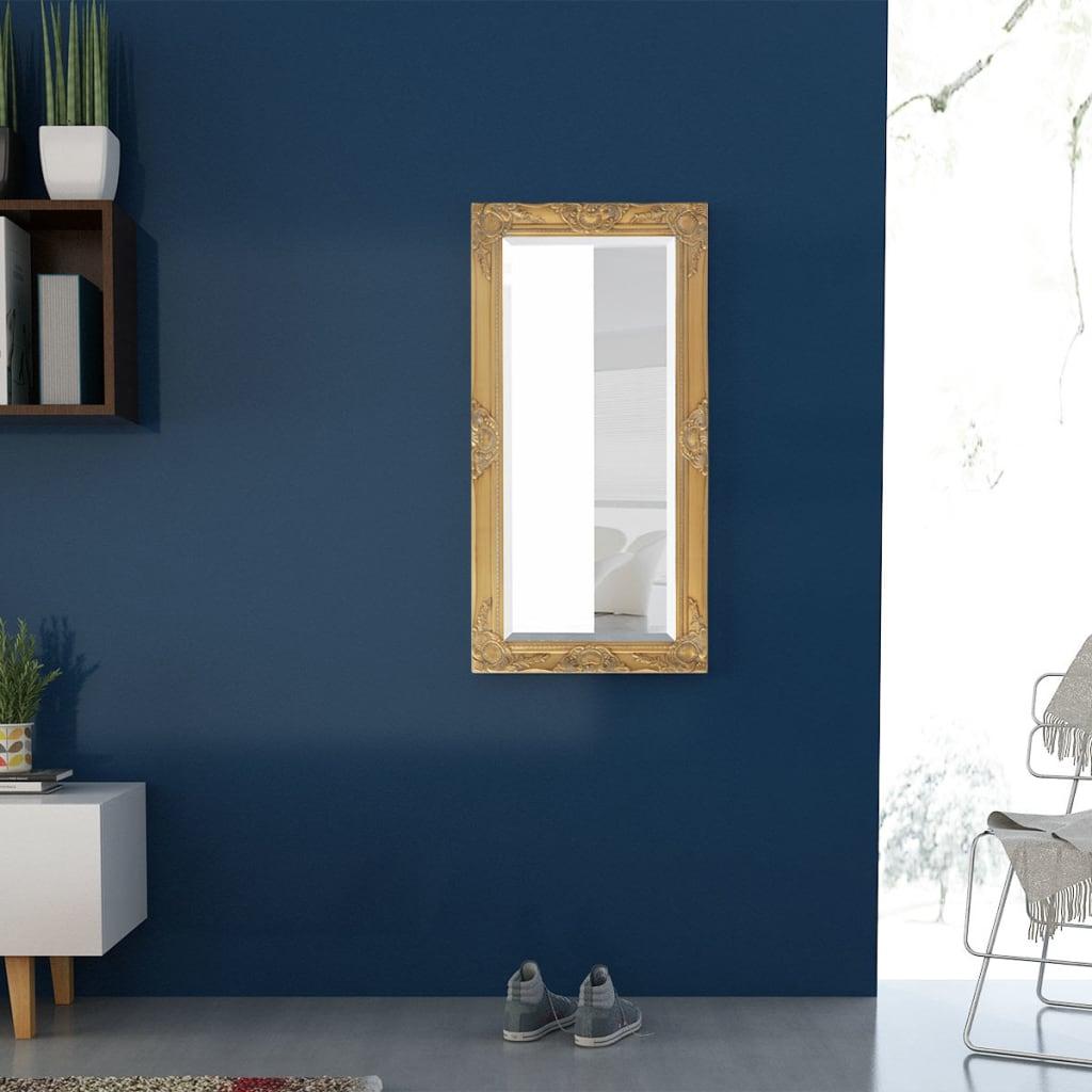 Vidaxl specchio da parete stile barocco 100x50 cm dorato for Specchio da parete grande