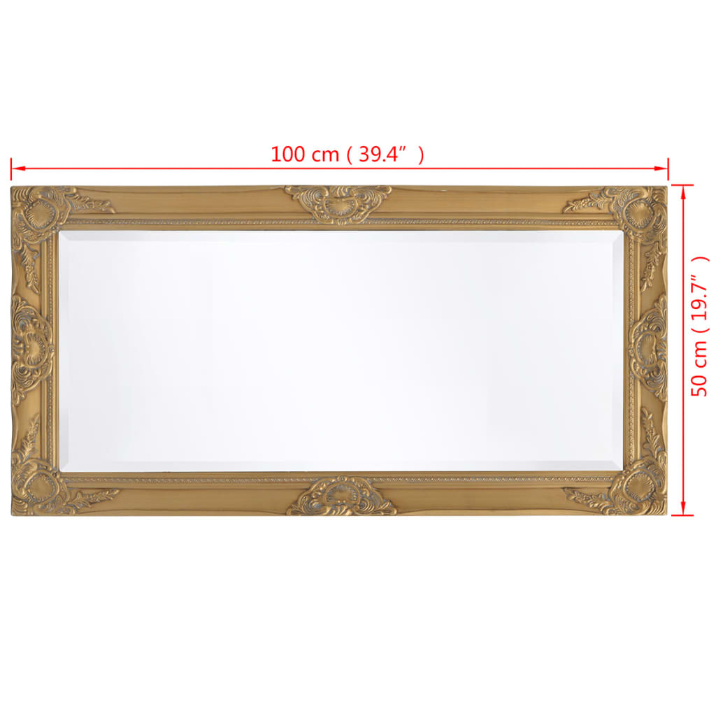Acheter vidaxl miroir mural style baroque 100 x 50 cm dor for Miroir 60 x 100