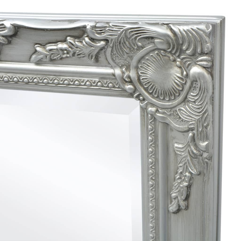 acheter vidaxl miroir mural style baroque 100 x 50 cm argent pas cher. Black Bedroom Furniture Sets. Home Design Ideas