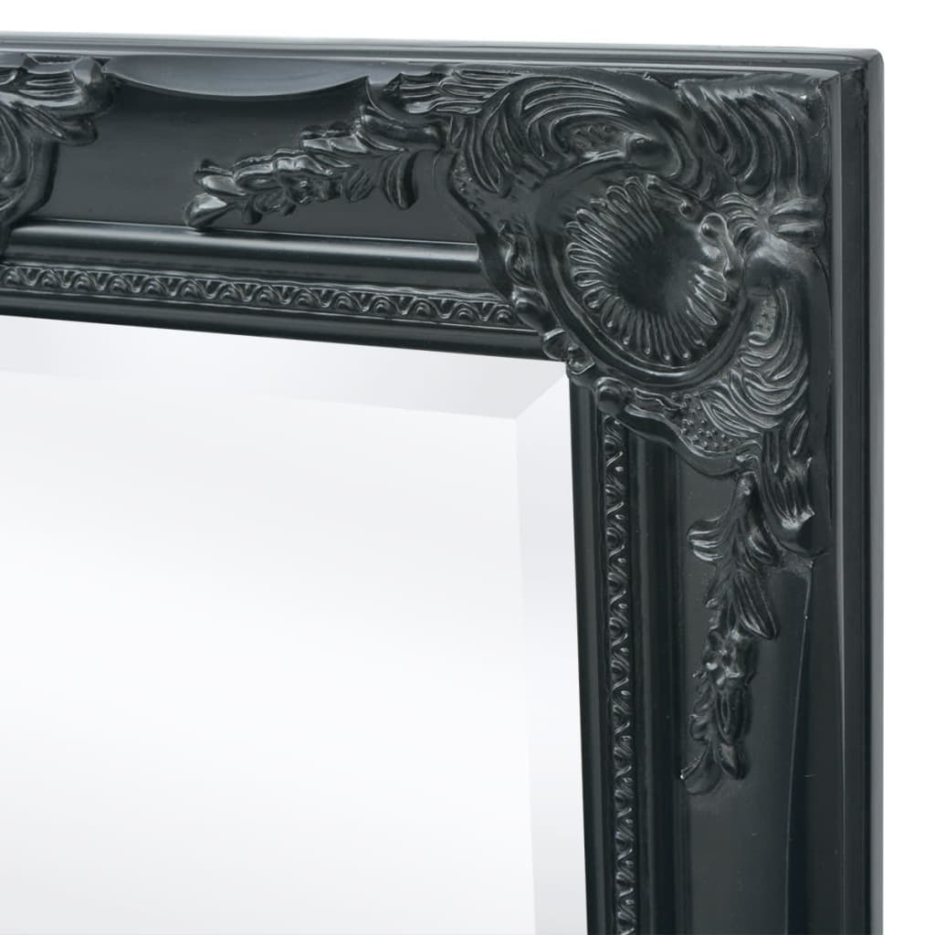 acheter vidaxl miroir mural style baroque 100 x 50 cm noir pas cher. Black Bedroom Furniture Sets. Home Design Ideas