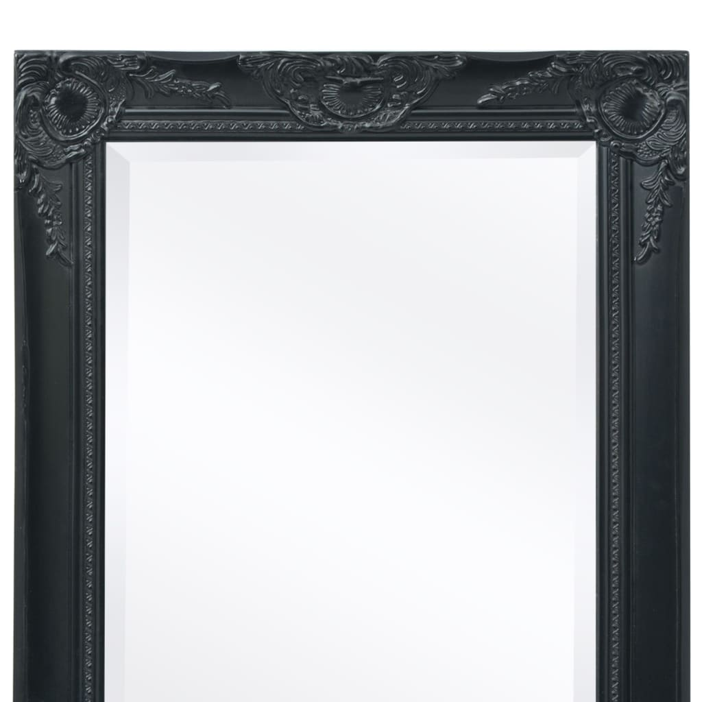 acheter vidaxl miroir mural style baroque 100 x 50 cm noir pas cher. Black Bedroom Furniture Sets. Home Design Ideas