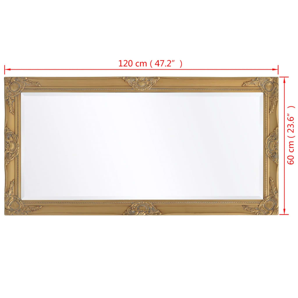 Vidaxl wall mirror baroque style 120x60 cm gold for Miroir 120x60