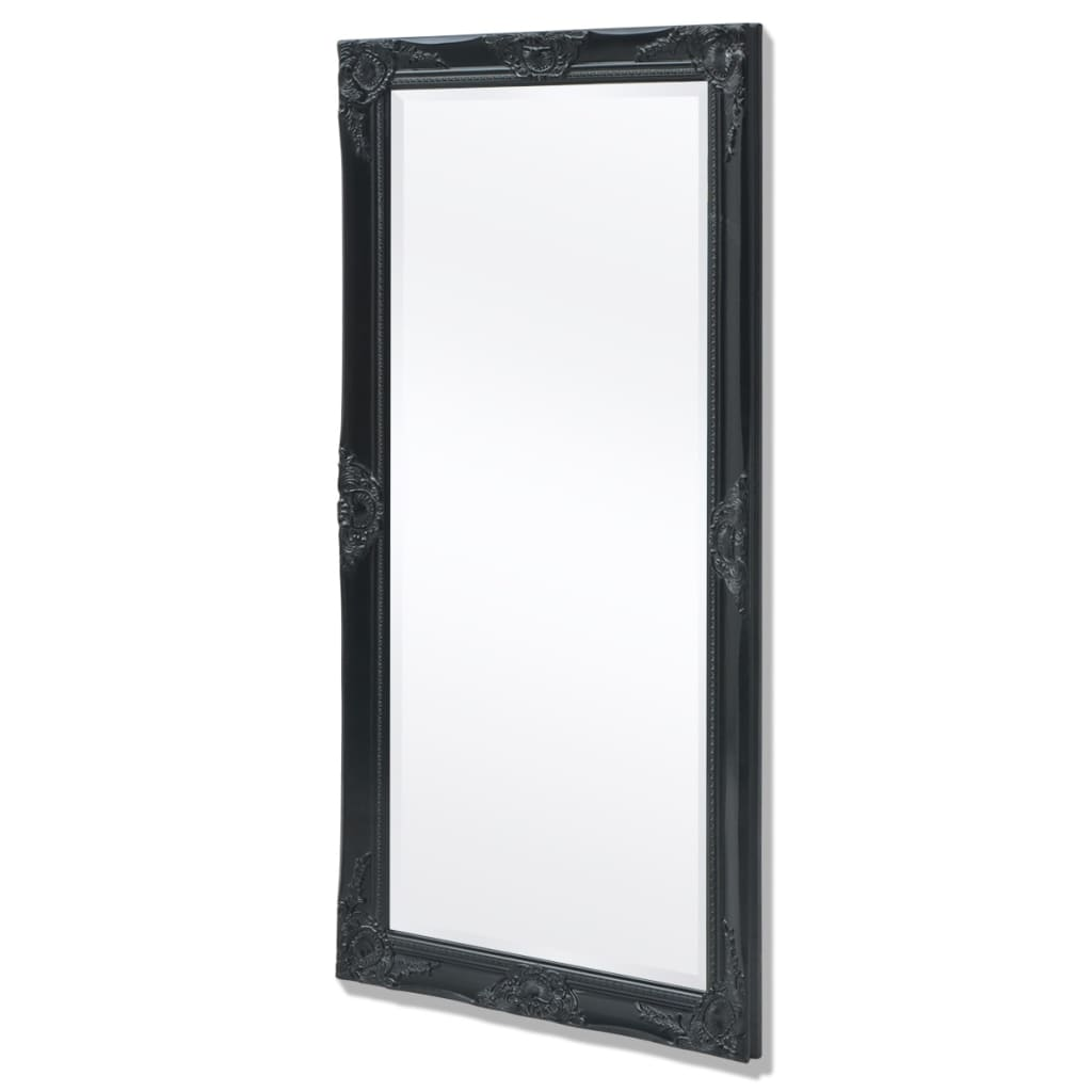 Vidaxl wall mirror baroque style 120x60 cm black vidaxl for Miroir 120x60