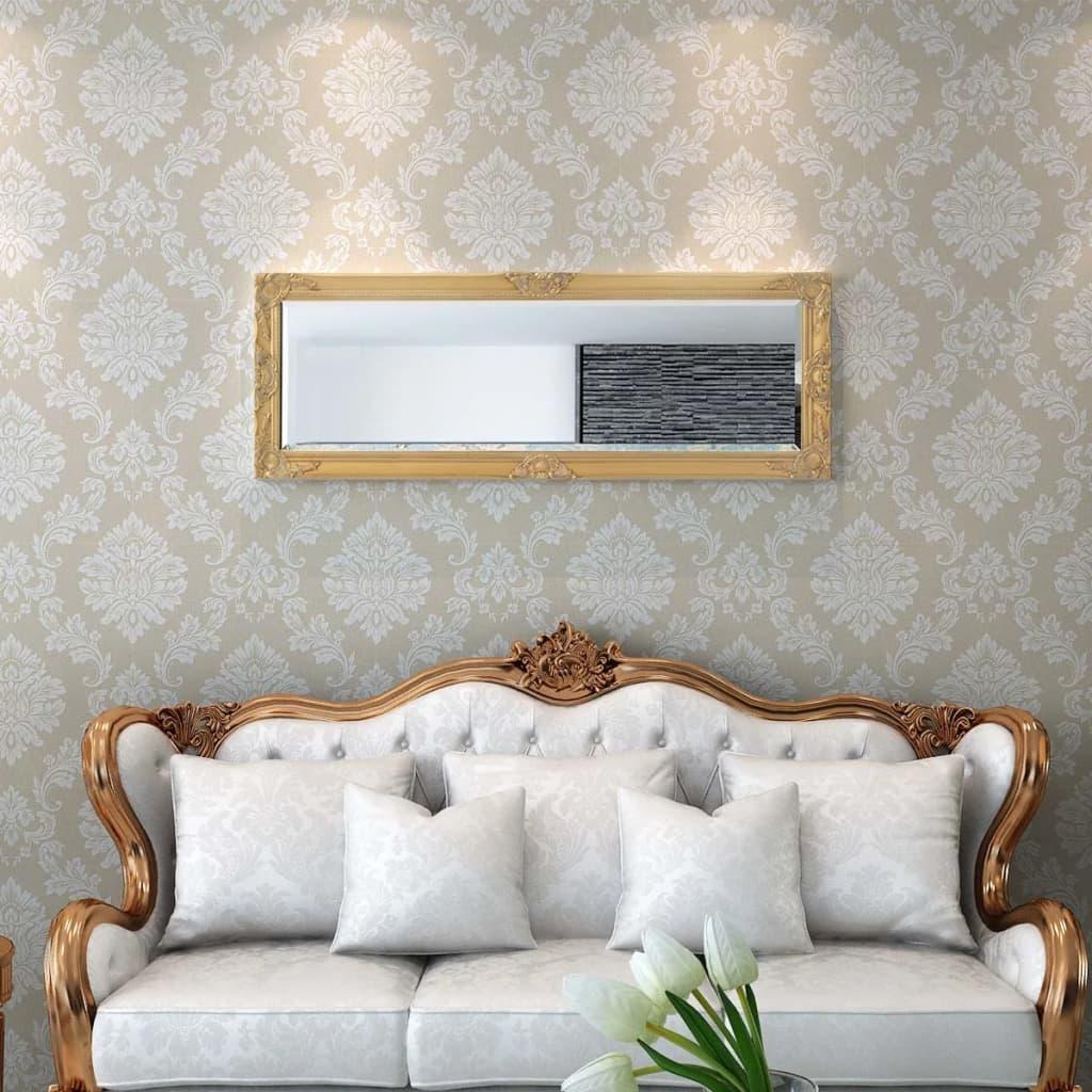 Vidaxl specchio da parete stile barocco 140x50 cm dorato for Specchio grande da parete