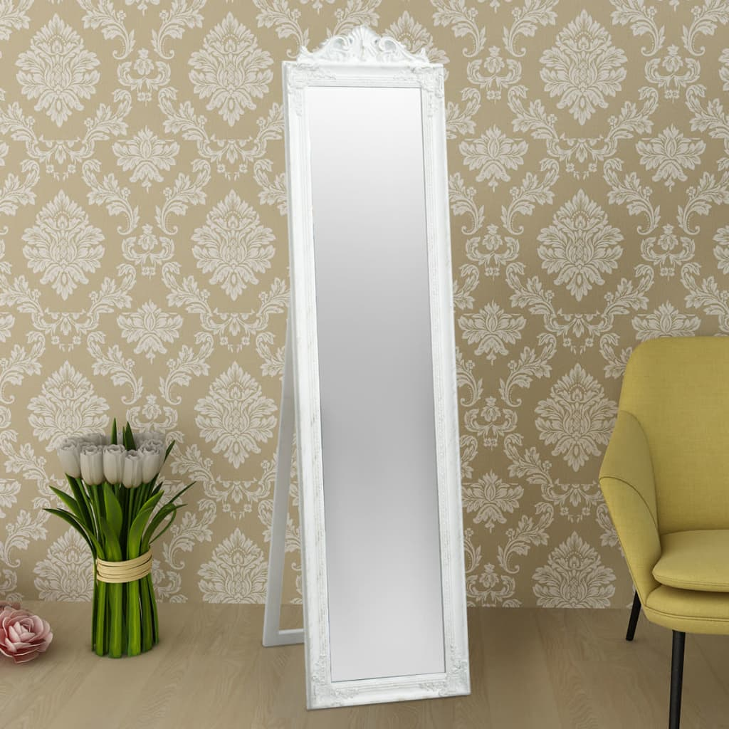 Vidaxl espejo de pie estilo barroco 160x40 cm blanco for Espejo pie blanco