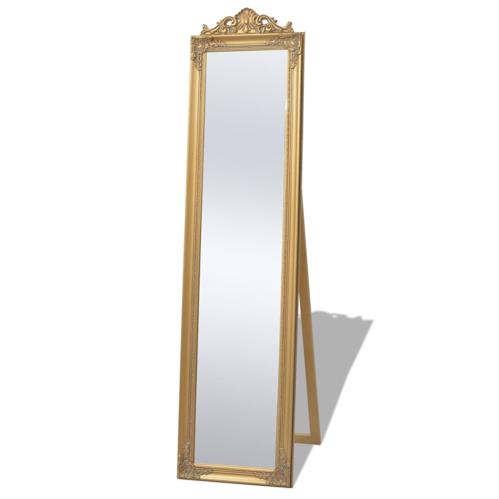 Vidaxl free standing mirror baroque style 160x40 cm gold for Free standing