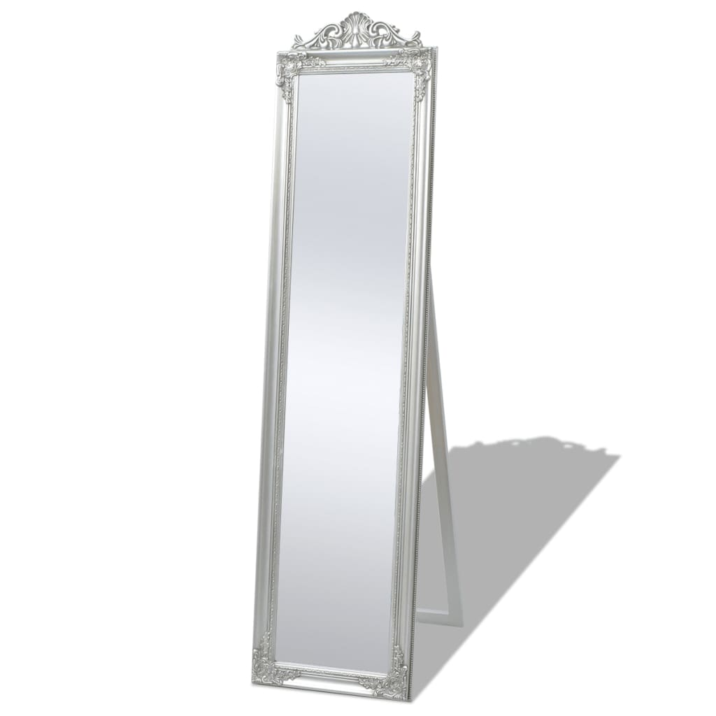 Vidaxl free standing mirror baroque style 160x40 cm silver for Miroir 160 x 50