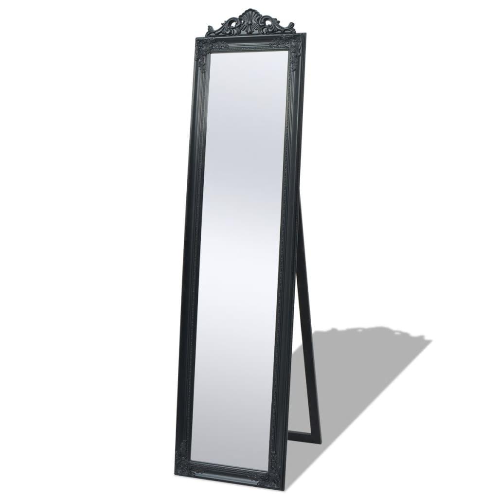 vidaXL Szabadon álló barokk stílusú tükör 160x40 cm fekete