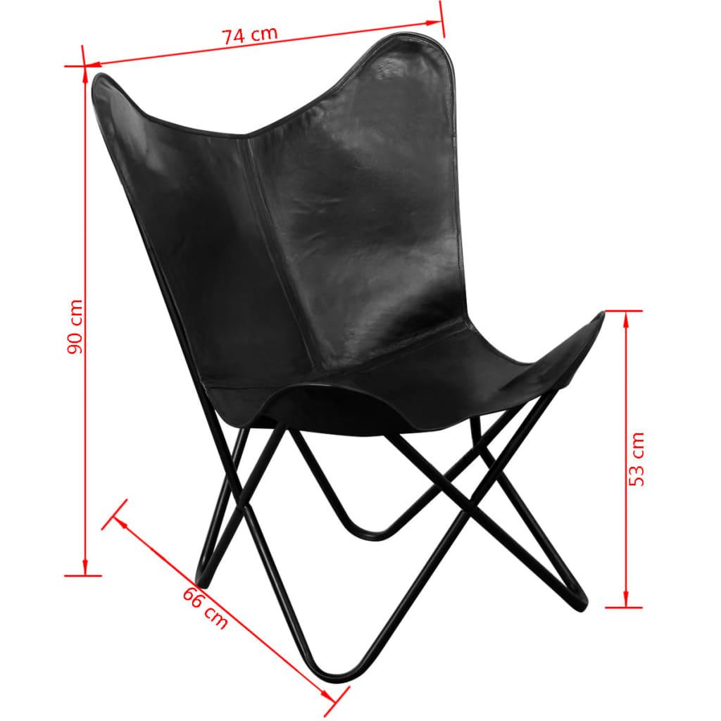 Vidaxl silla de mariposa de cuero verdadero negro - Silla mariposa ...