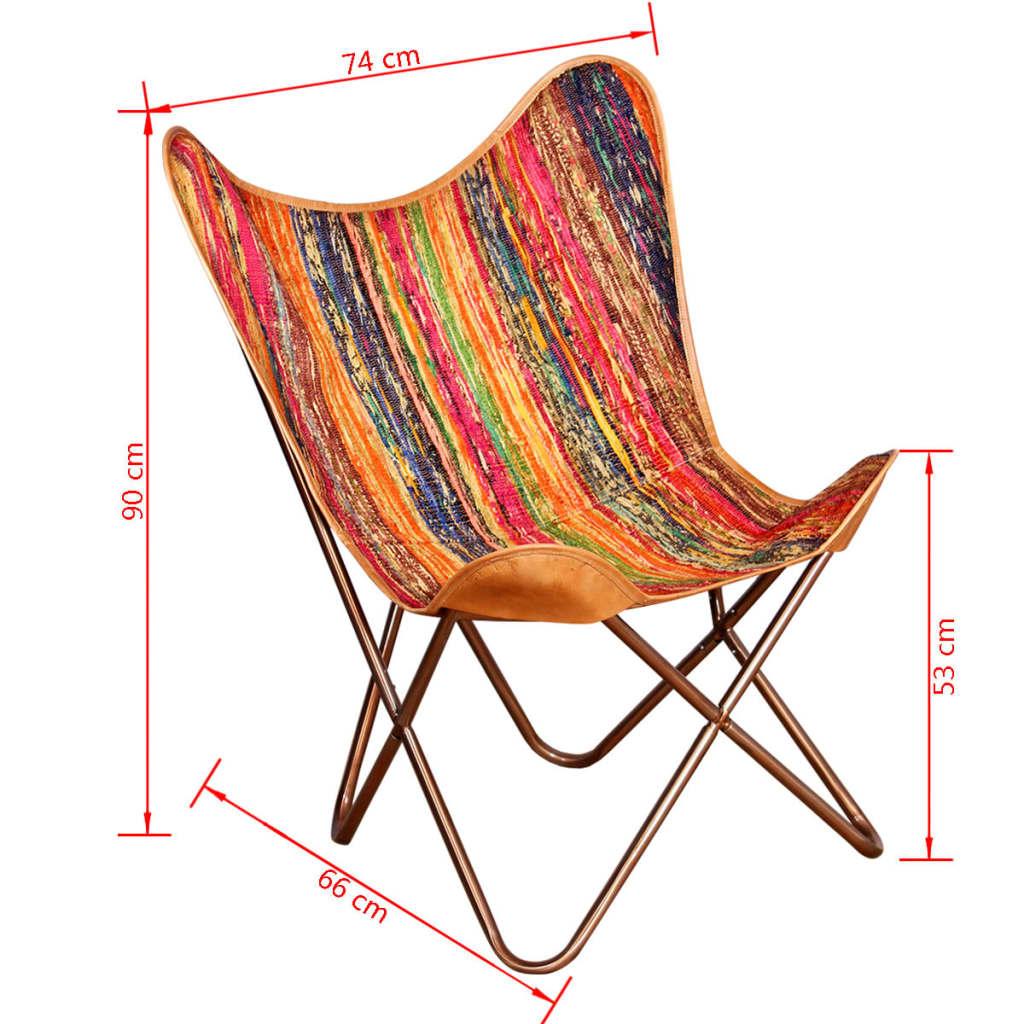 Acheter vidaxl chaise papillon tissu chindi multicolore for Vidaxl chaise