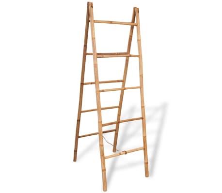 Vidaxl escalera toallero doble con 5 pelda os bamb 50x160 for Escaleras 5 peldanos