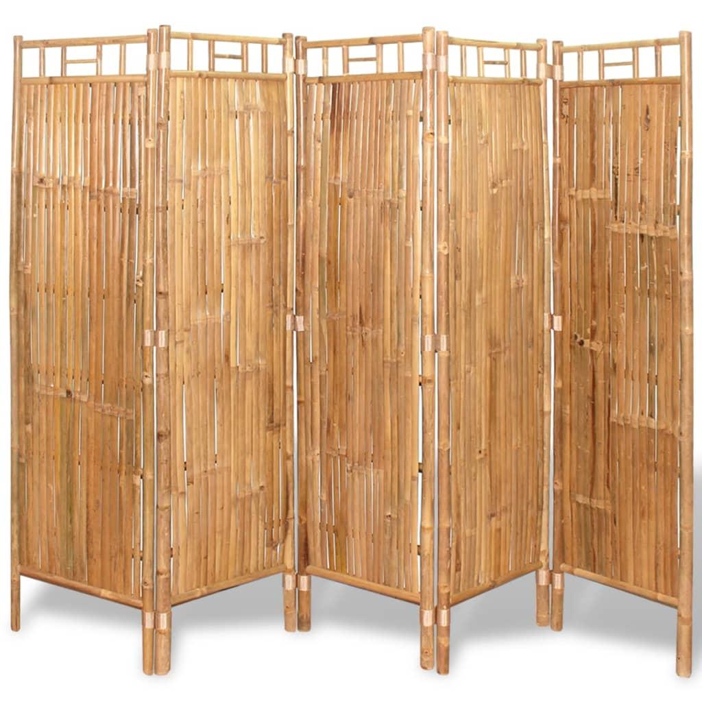vidaxl cloison de s paration 5 panneaux bambou 200 x 160 cm. Black Bedroom Furniture Sets. Home Design Ideas