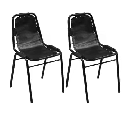 Elegant VidaXL 2 Pcs Dining Chairs Industrial Style Black Leather Chair Steel  Furniture