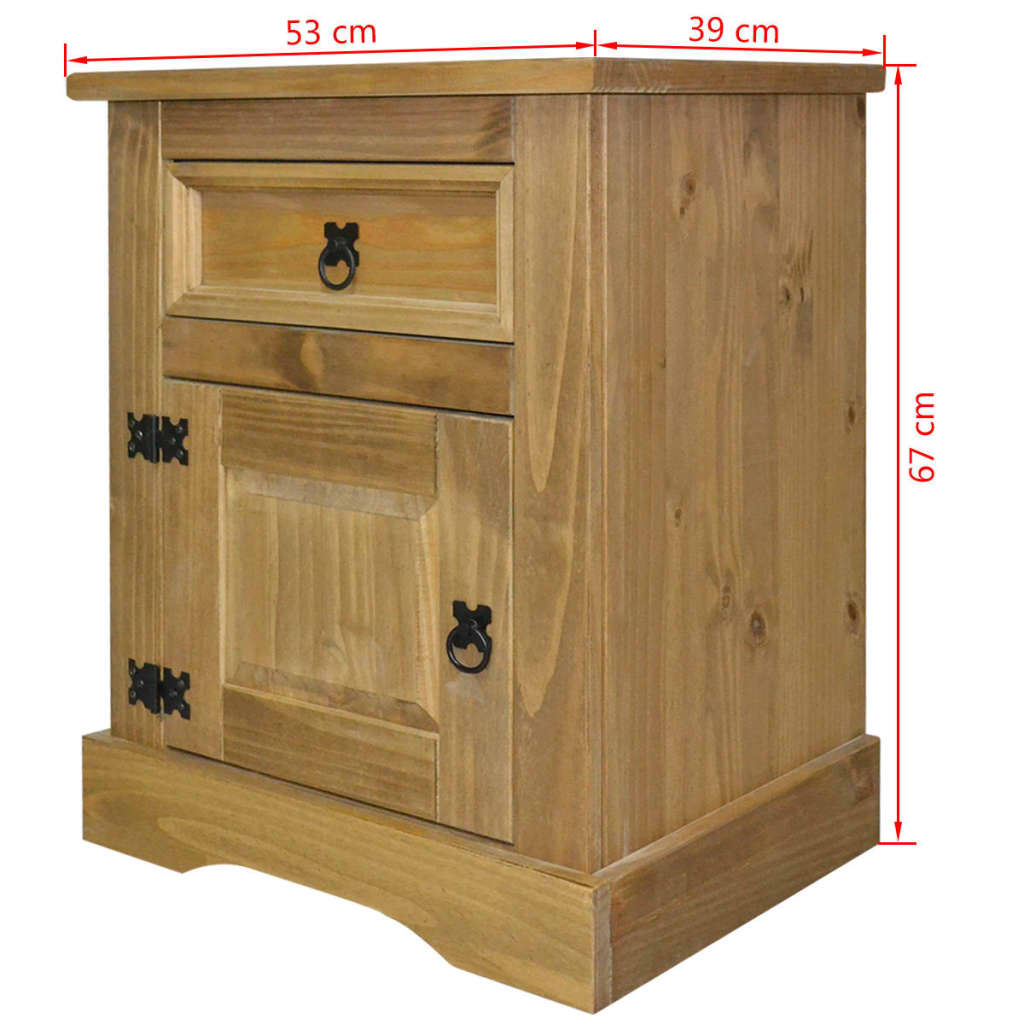 vidaxl bedside cabinet mexican pine corona range 53x39x67. Black Bedroom Furniture Sets. Home Design Ideas