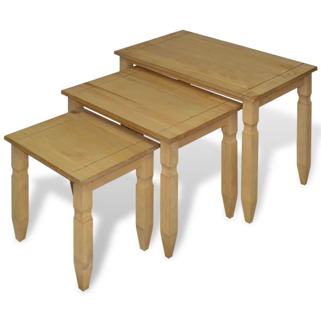 vidaXL 3 darabos mexikói Corona fenyőfa asztal szett