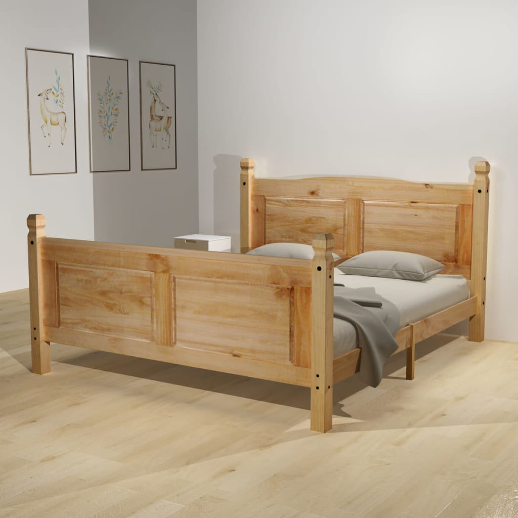 acheter vidaxl cadre de lit pin mexicain corona 140 x 200 cm pas cher. Black Bedroom Furniture Sets. Home Design Ideas