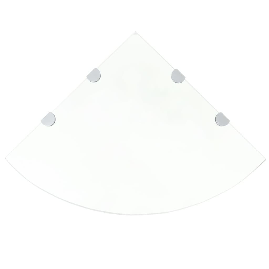 vidaXL Átlátszó üveg sarokpolc króm tartóval 45x45 cm