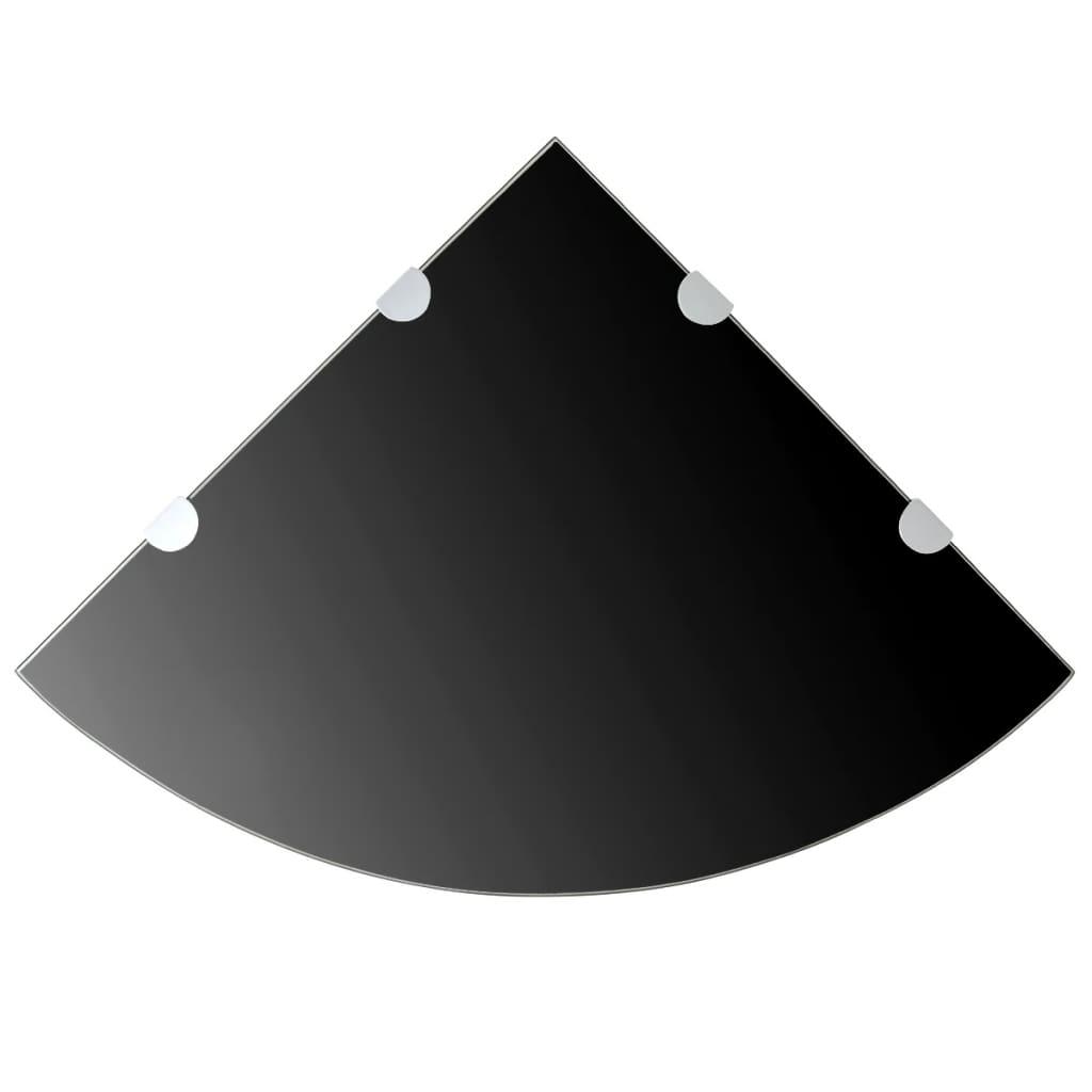 Afbeelding van vidaXL Hoekschap met chromen dragers zwart 45x45 cm glas