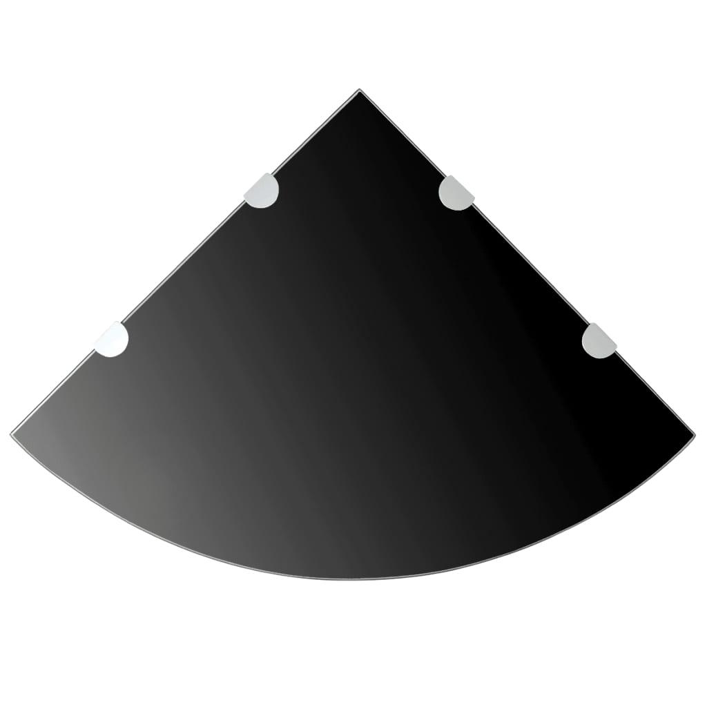 vidaXL Fekete üveg sarokpolc króm tartóval 45x45 cm