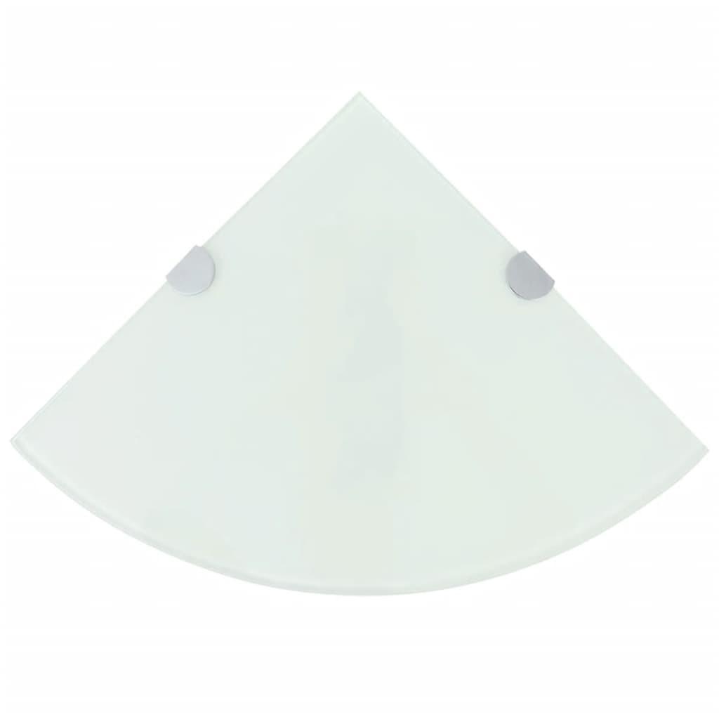 vidaXL Fehér üveg sarokpolc króm tartóval 25x25 cm