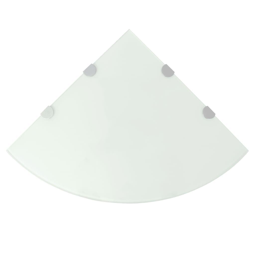 Afbeelding van vidaXL Hoekschap met chromen dragers wit 45x45 cm glas