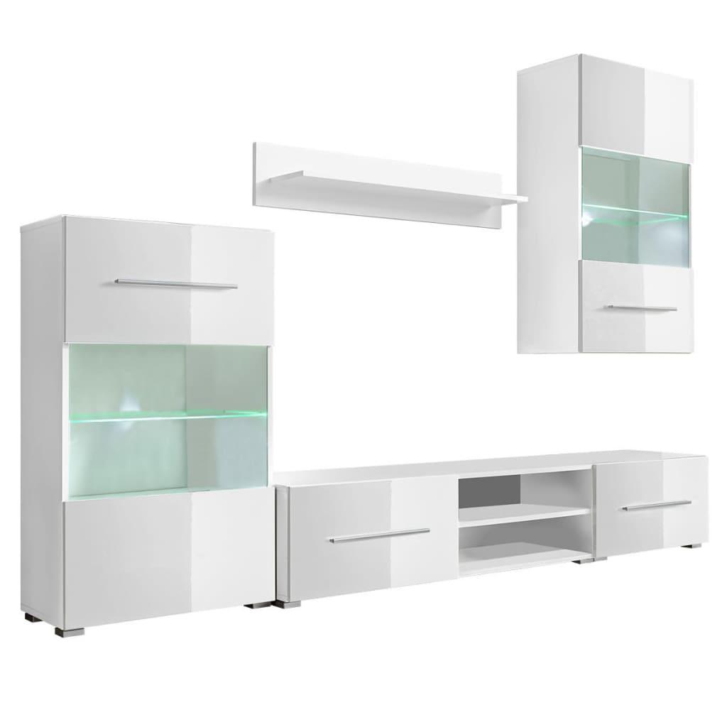 vidaXL Meble do salonu z szafką pod TV i podświetleniem LED, 5 elementów, białe