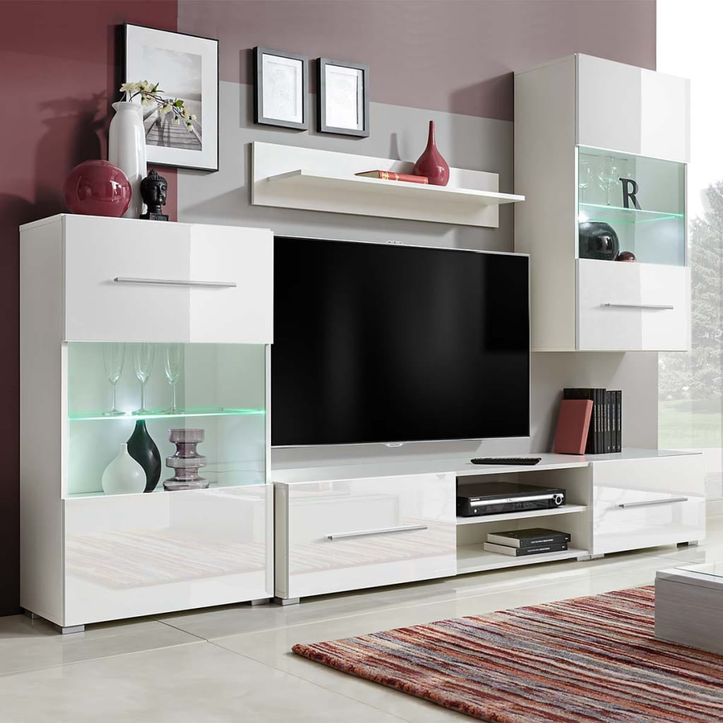 acheter vidaxl meuble tv mural avec clairage led 5 pi ces blanc pas cher. Black Bedroom Furniture Sets. Home Design Ideas