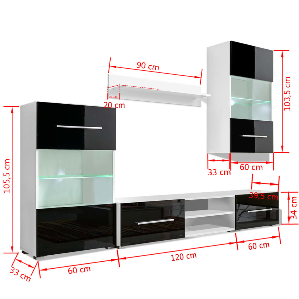 vidaxl f nfteilige wohnwand tv schrank mit led beleuchtung. Black Bedroom Furniture Sets. Home Design Ideas