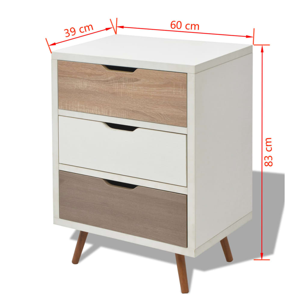 acheter vidaxl buffet avec 3 tiroirs 60 x 39 x 83 cm blanc pas cher. Black Bedroom Furniture Sets. Home Design Ideas