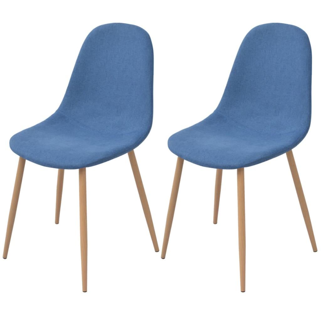 vidaXL Krzesło do jadalni 2 szt., tapicerowane tkaniną, niebieską