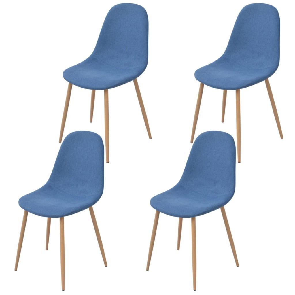 vidaXL Krzesło do jadalni 4 szt., tapicerowane tkaniną, niebieską