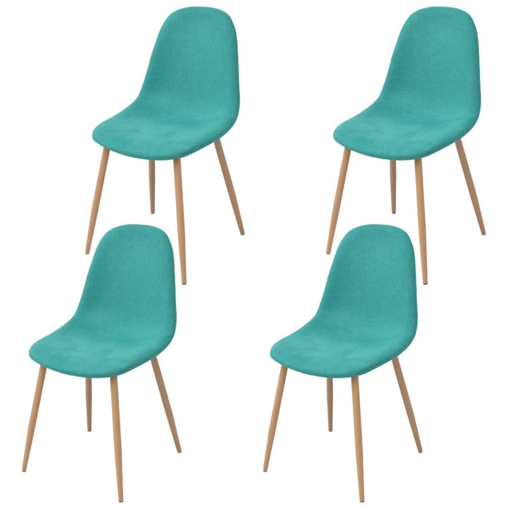 Vidaxl sillas de comedor 4 unidades tela verde for Sillas para comedor tapizadas en tela
