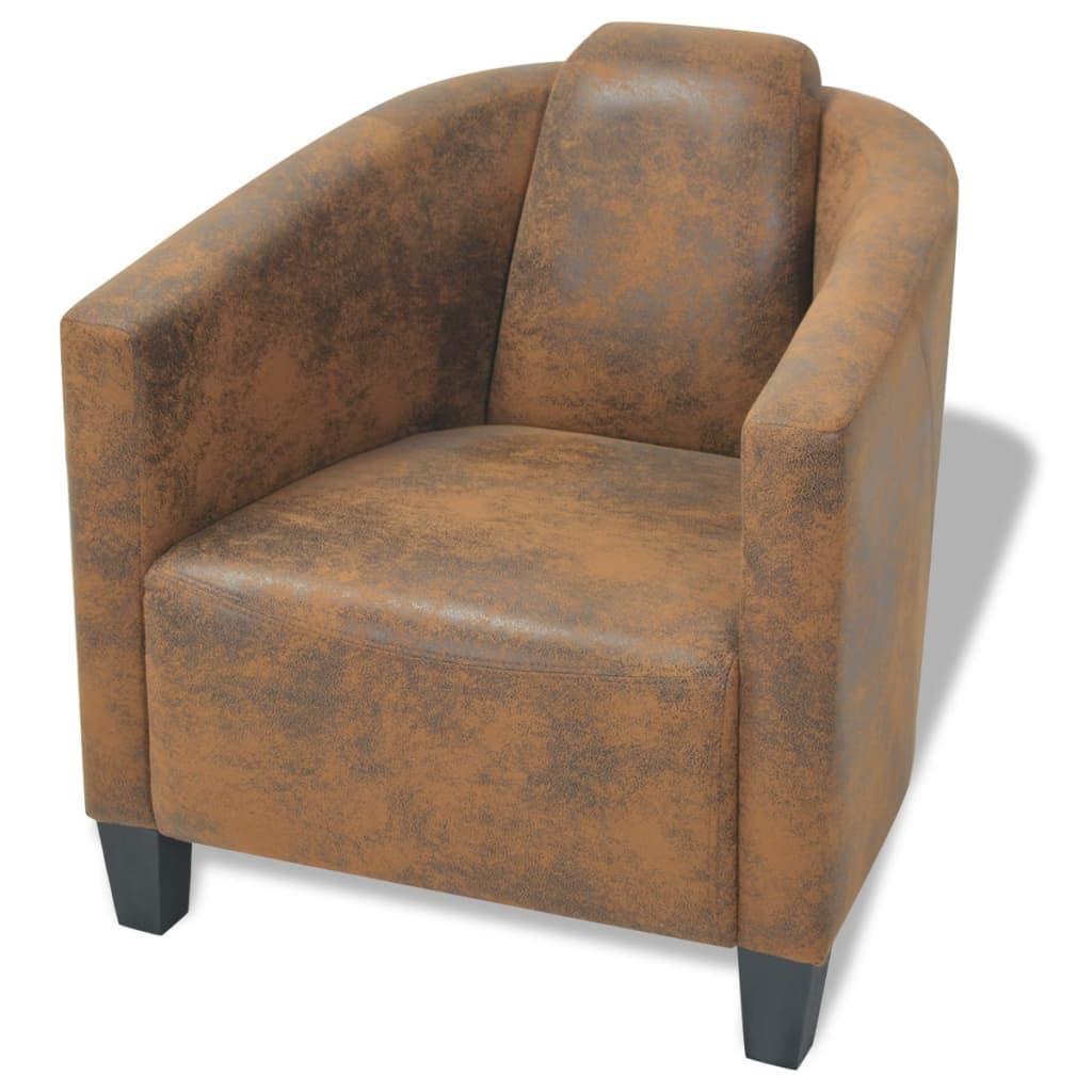 vidaXL Fotel, brązowy materiał