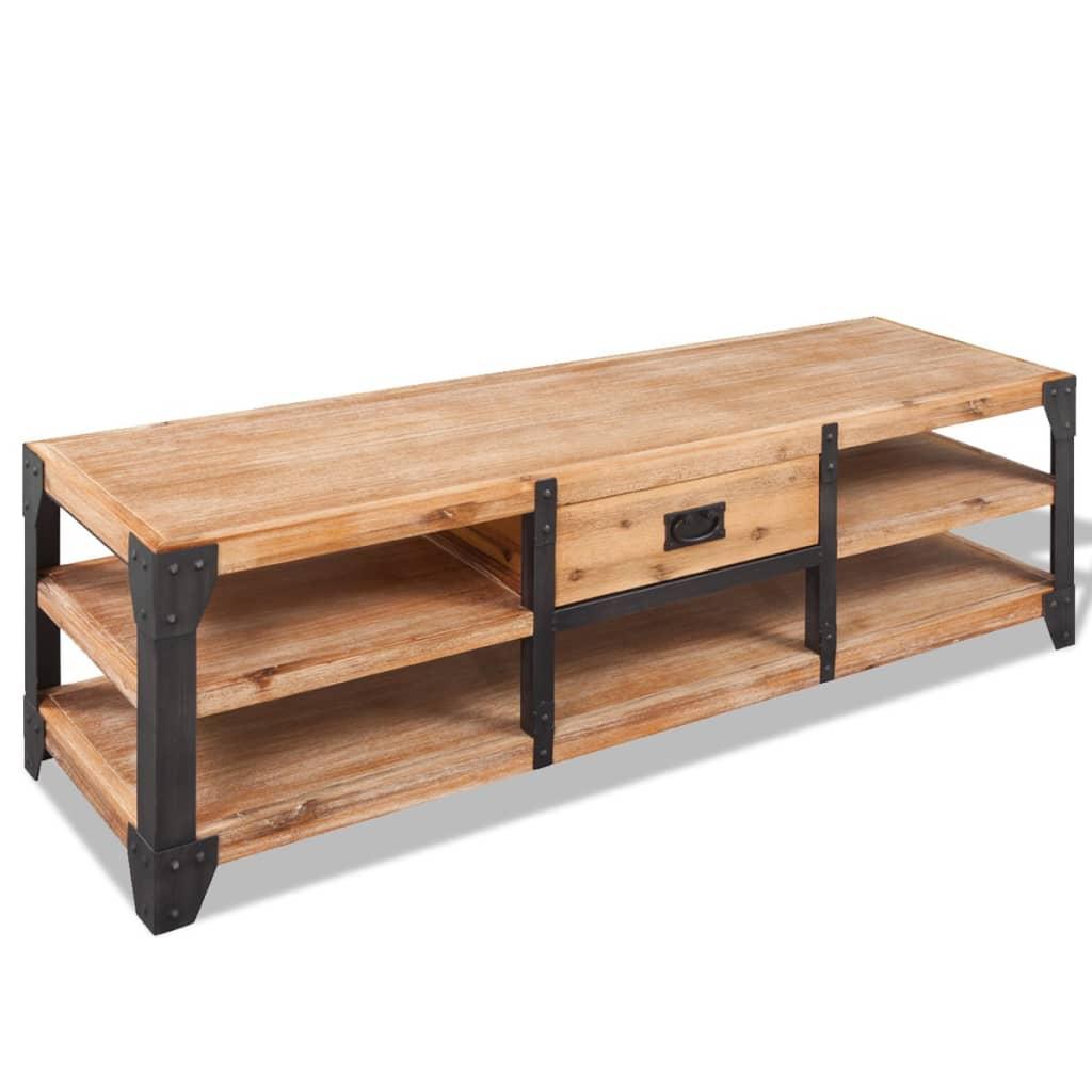 Acheter vidaxl meuble tv 140 x 40 x 45 cm bois d 39 acacia for Meuble tv bois 100 cm