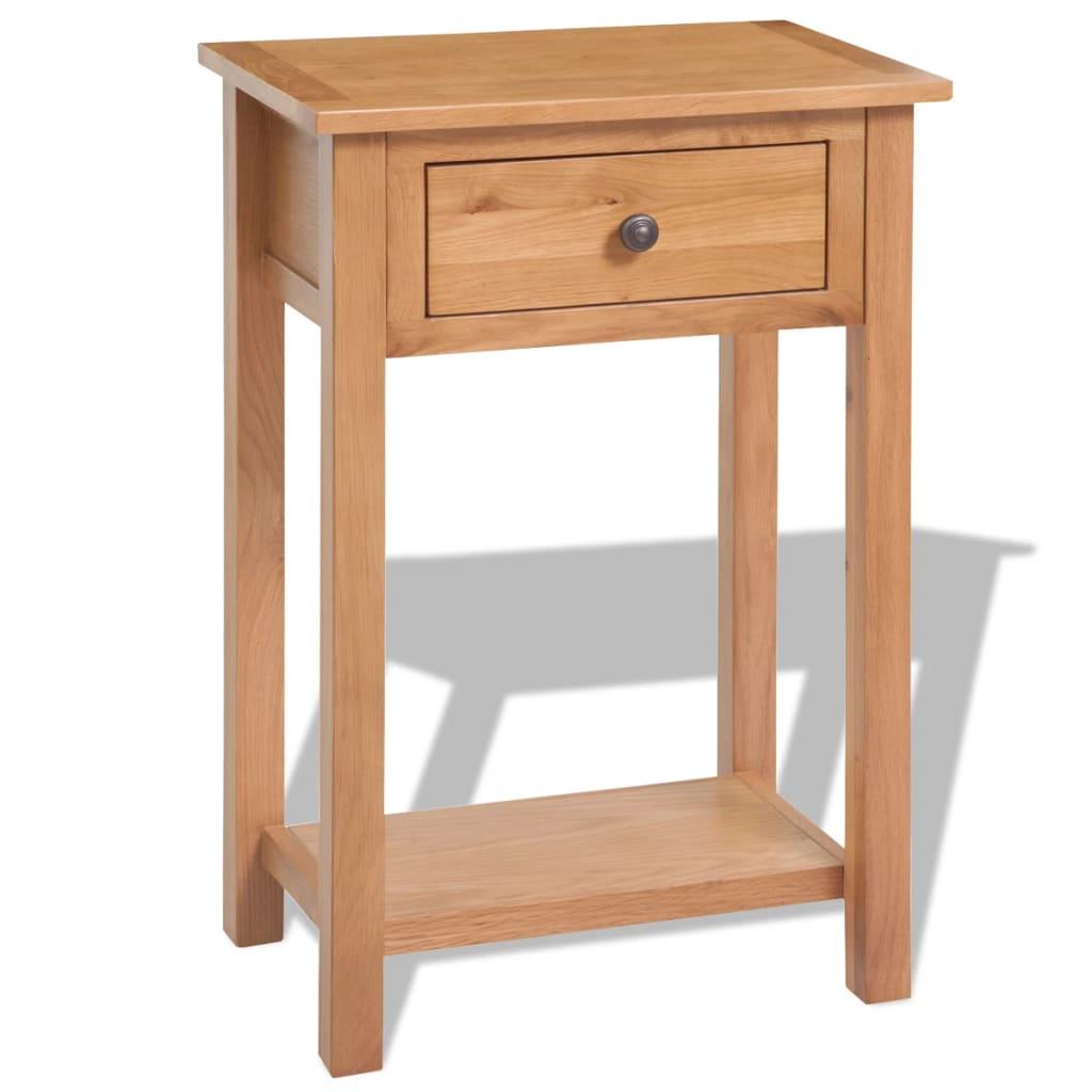 vidaXL barna tömör tölgyfa tálalóasztal 50 x 32 75 cm