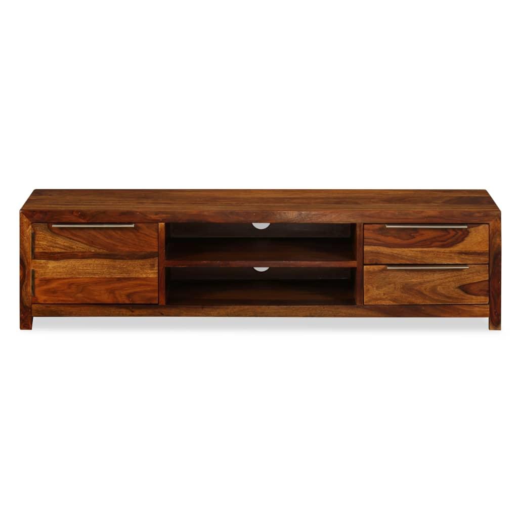 Acheter vidaxl meuble tv bois de sheesham massif 120 x 30 for Meuble audio en bois massif