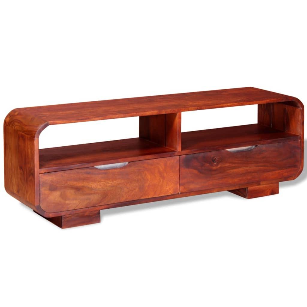 Acheter vidaxl meuble tv bois de sheesham massif 116 x 30 for Meuble audio en bois massif
