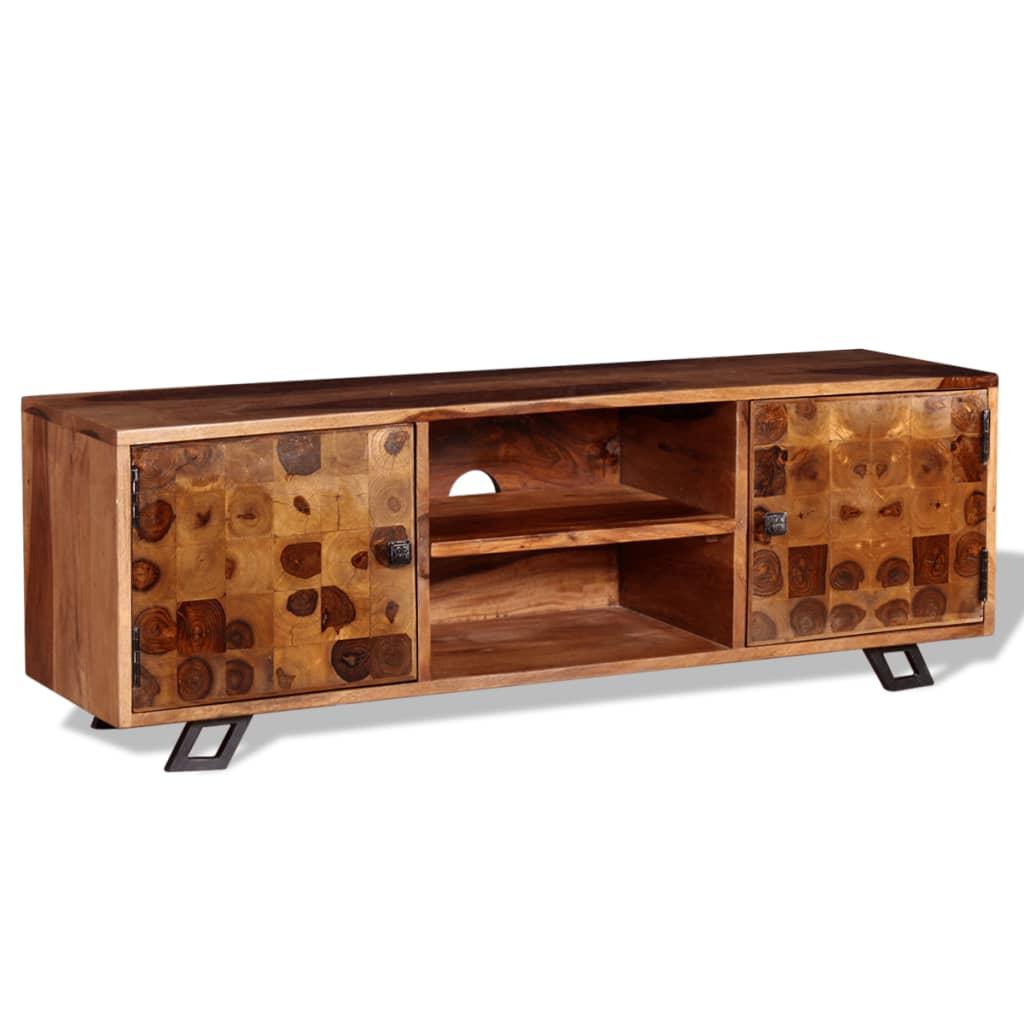 vidaXL Szafka pod telewizor, lite drewno sheesham, 120 x 30 40 cm