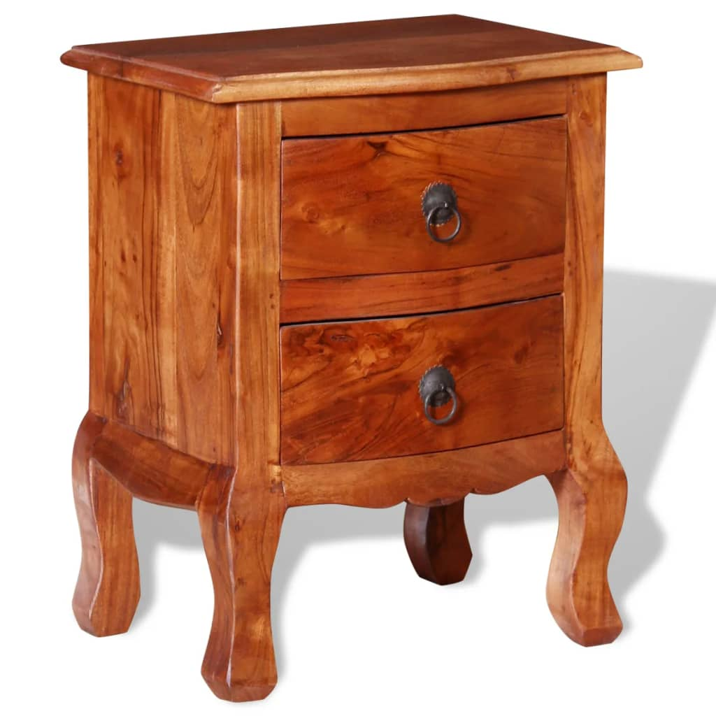 vidaxl 1 2x nightstand w drawers solid acacia wood end table telephone stand ebay. Black Bedroom Furniture Sets. Home Design Ideas