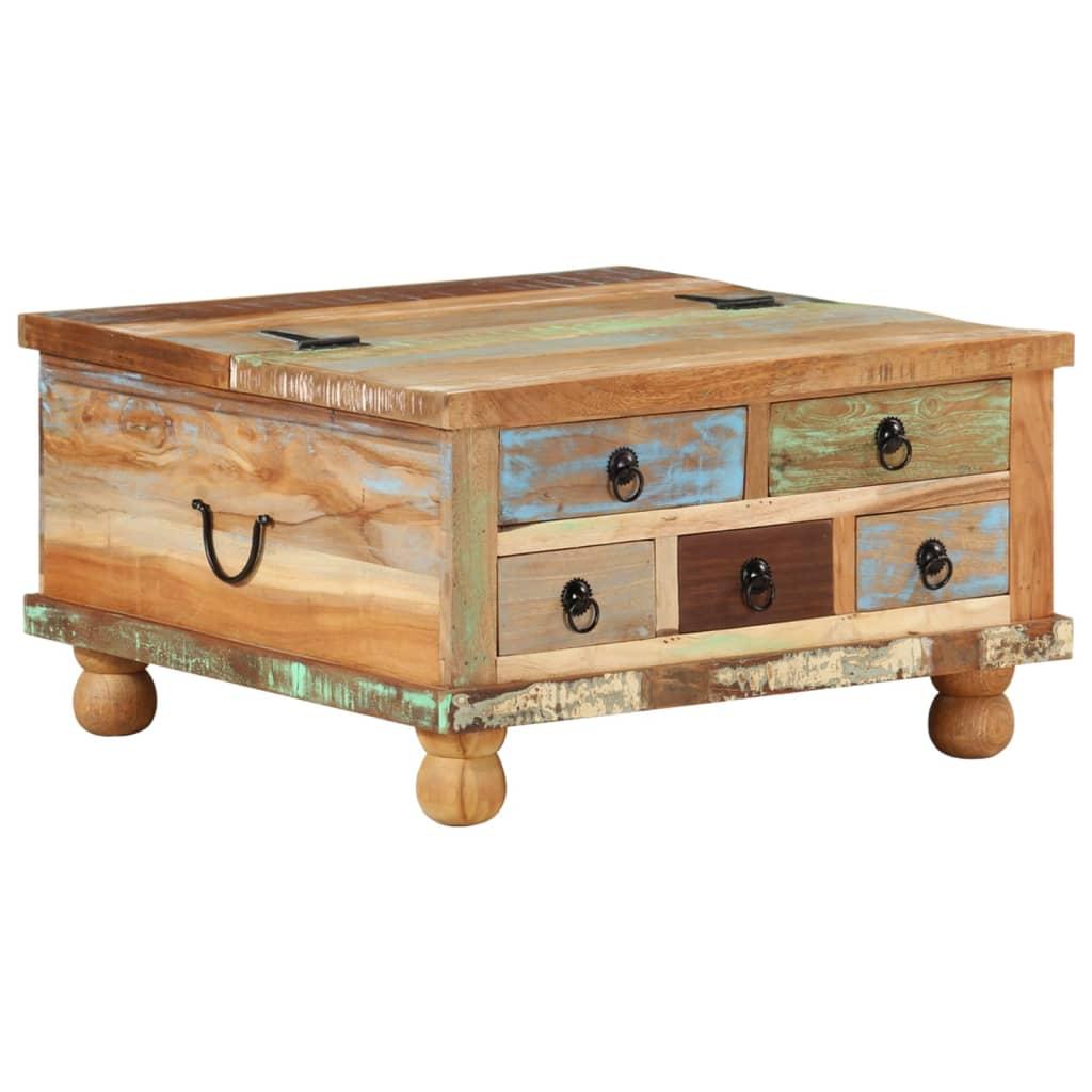 vidaXL tömör újrahasznosított fa dohányzóasztal 70 x 38 cm