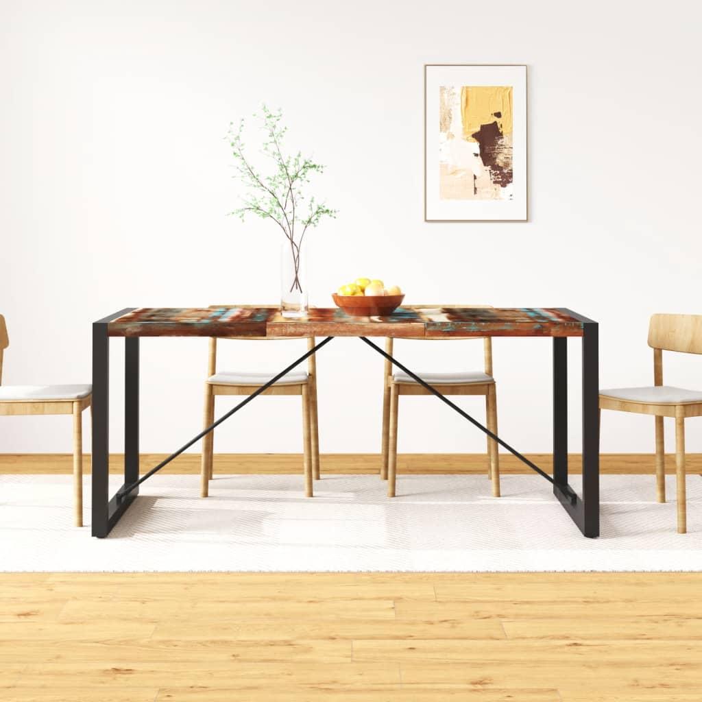 vidaXL tömör újrahasznosított fa étkezőasztal 180 cm