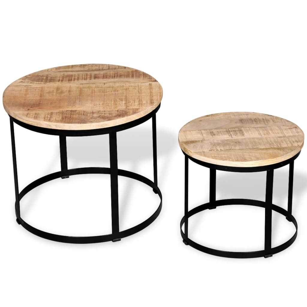 Vidaxl Two Piece Coffee Table Set Rough Mango Wood Round 40 Cm 50 Cm