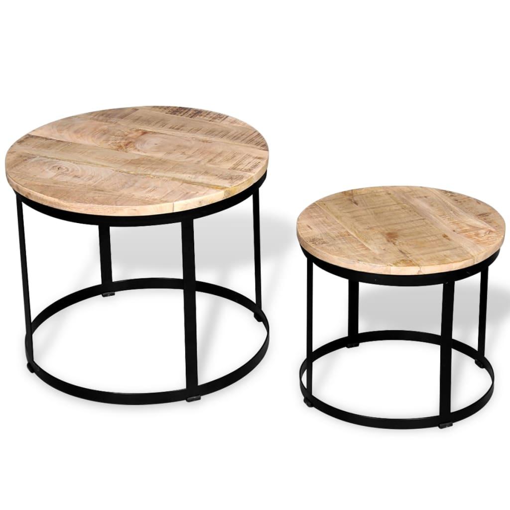 Vidaxl Two Piece Coffee Table Set Rough Mango Wood Round