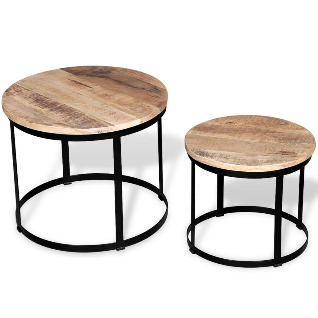 vidaXL Dwa stoliki kawowe z surowego drewna mango, okrągłe 40 i 50 cm