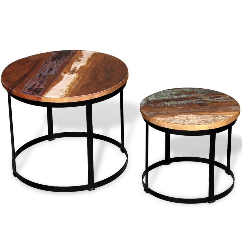 vidaXL 2 db kerek tömör újrahasznosított fa dohányzóasztal 40/50 cm